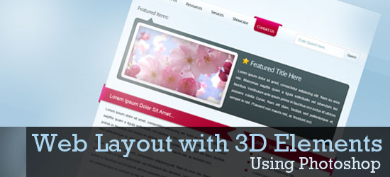 Create a Web Layout with 3D Elements using Photoshop