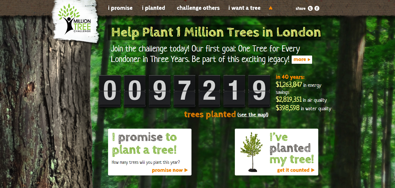 One Million Trees - Fresh Examples of HTML5 Websites