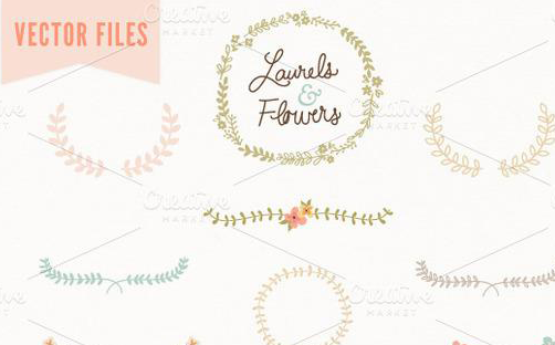 10-Laurel-&-Flowers-Vintage-Vector
